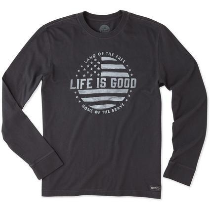 Life is Good Men's Long Sleeve Land of the Free Crusher Tee, XXLarge