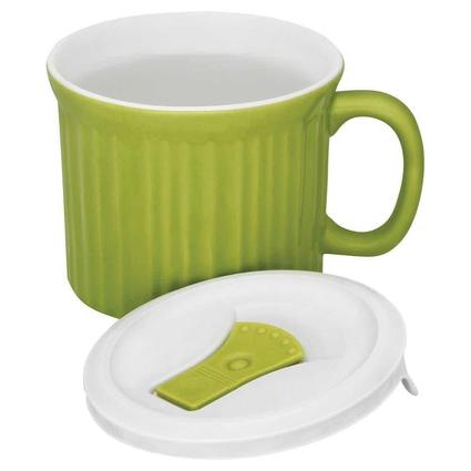 CorningWare 20-oz Mug with Vented Lid, Green