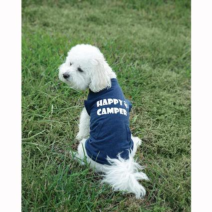 Happy Camper Pet Tee Shirt, Navy, Large