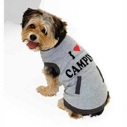 I Love Camping Pet Tee Shirt, Gray, Small
