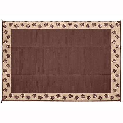 Patio Mat, Polypropylene, Paw Print Design, 6x9, Brown/Tan