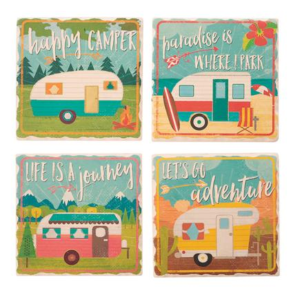 Happy Camper Coasters 4 Pack