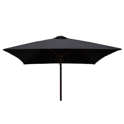 Classic Wood Square Patio Umbrella - Black, 6.5'