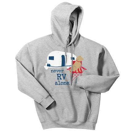 Dog is Good Unisex Never RV Alone Hoodie, Large