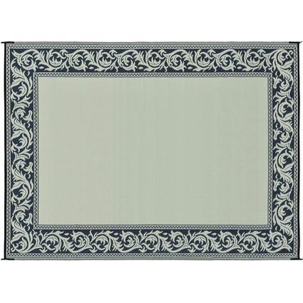Patio Mat, Polypropylene, Classical Design, 9 x 12, Black/Beige