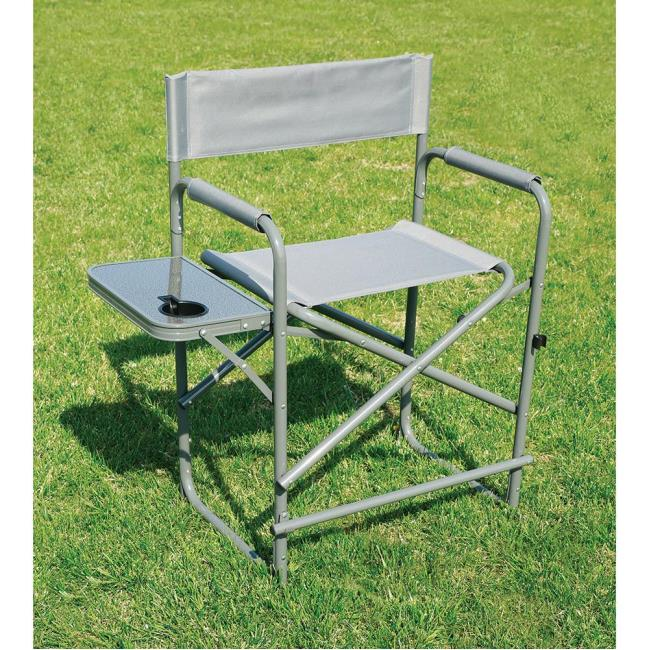 Image Tall Gray Directoru0027s Chair With Solid Footrest. To Enlarge The Image,  Click Or .