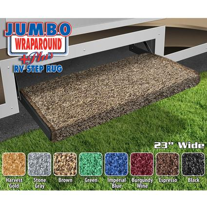 Jumbo Wraparound Plus RV Step Rug - Brown, 23