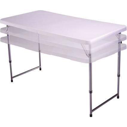 4' White Fold N Half Table