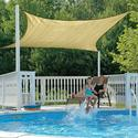 ShadeLogic Sun Shade Sail, Square - Sand 16' x 16'