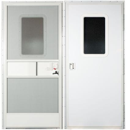 Polar White Square Corner RV Entrance Doors