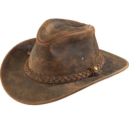 Outback Crushable Leather Hat- Rustic, Small