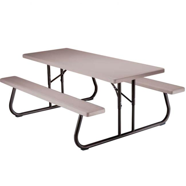 Image Folding Picnic Table U2013 6 Foot, Putty. To Enlarge The Image, Click .