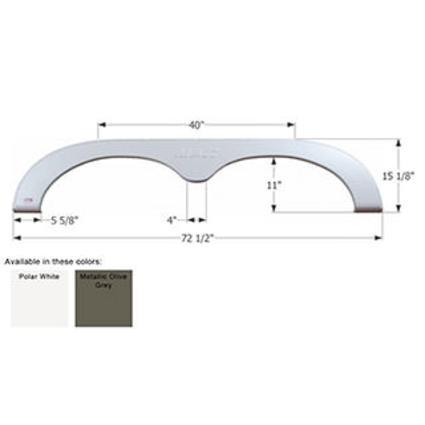 R-Vision Tandem Fifth Wheel Fender Skirt FS781 - Met. Olive Grey