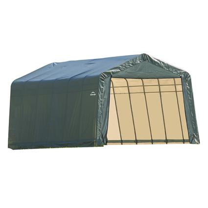 Peak Style Shelter 12 x 28 x 8 Green Cover