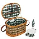 Oval Willow Lined Picnic Basket for 4