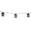 10 Black Metal Lantern Patio Lights, 12' Cord