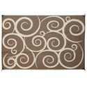 Reversible Patio Mats, 9' x 12' Swirl Design Brown/Cream