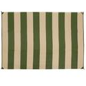 Reversible Patio Mats, Basic Stripe 6' x 9', Dark Green/Tan