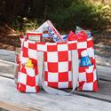 Retro Red and White Checked Picnic Caddy