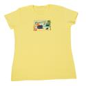 Womens Paradise Found Postcard Tee, Yellow Medium