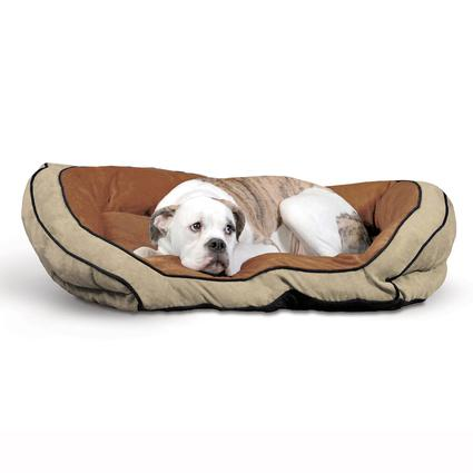 Bolster Pet Couch, Large, Mocha/Tan