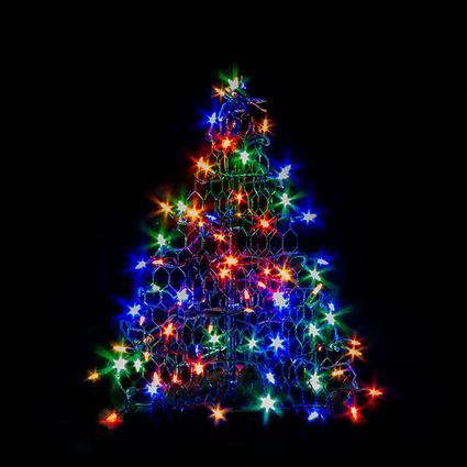1.5' Green Tree with Multi-Color Lights
