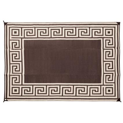 Patio Mat, Polypropylene, Greek Design, 9x12, Coffee Brown