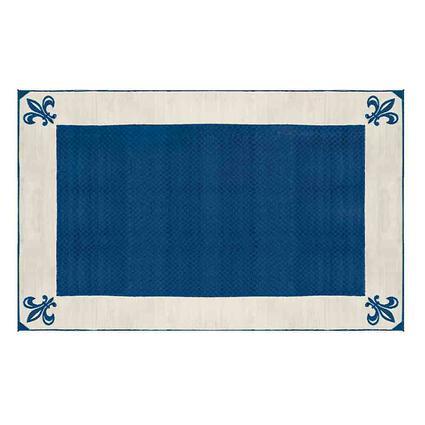 Patio Mat, Polypropylene, Fleur De Lis Design, 9x12, Navy