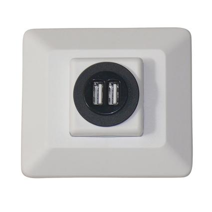 Wall-Mount USB Charge Center, White