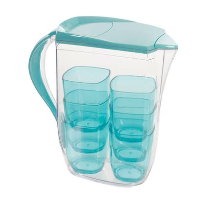 Clear Pitcher & 6 Cup Set, Blue