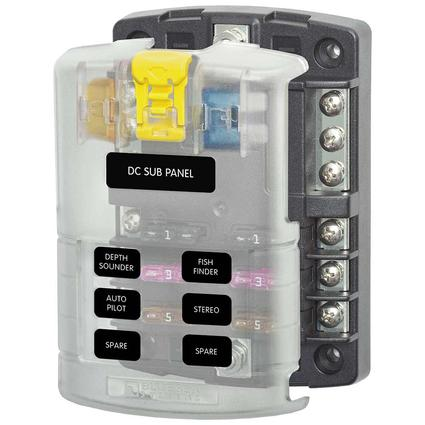 ST Blade Fuse Block – 6 Circuits with Negative Bus and Cover