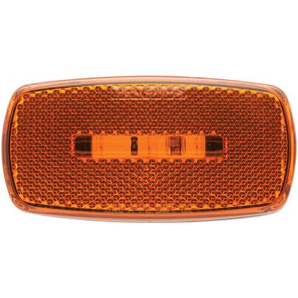 Oval LED Clearance/Marker Light Replaceable Lens Fleet Count Black Base Amber