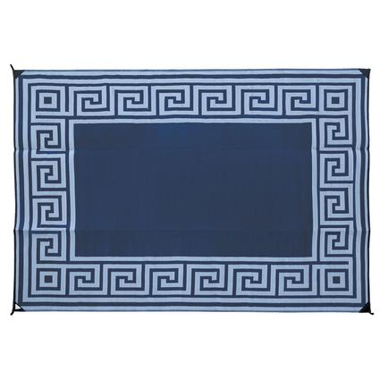 Reversible Patio Mats, 9' x 12' Greek Design Navy/Light Blue
