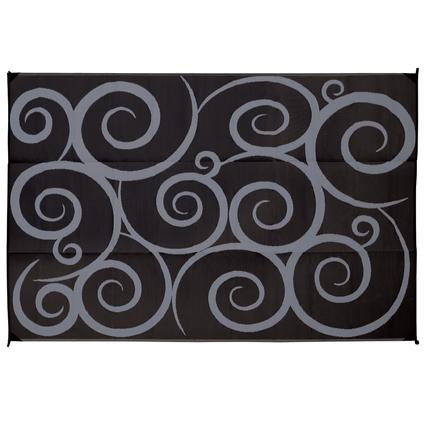 Reversible Patio Mats, 9' x 12' Swirl Design Black/Gray