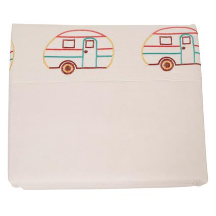 Microfiber Camping Theme Sheets, White with Vintage RV, Queen