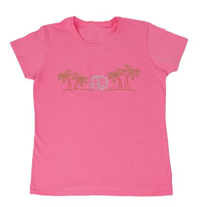 Womens Bright Palms Tee, Pink XXL