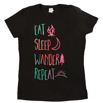 Womens Eat Sleep Wander Tee, Black Large