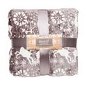 Velvet Holiday Blankets, 90 x 90, Reindeer, Gray, Full/Queen