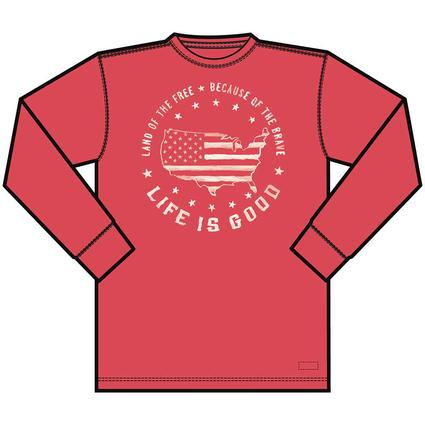Mens Life Is Good Because of the Brave Long Sleeve Crusher Tee, XL