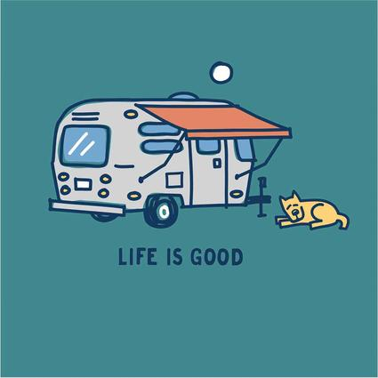 Womens Life Is Good Airstream Awning Crusher Tee, Beachy Teal, XL