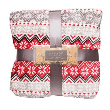 """Velvet Holiday Blanket, 90"""" x 90"""", Snowflake, Red and Gray"""