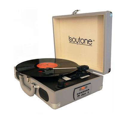 5-in-1 Suitcase Style Turntable, Grey