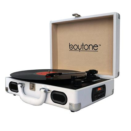 5-in-1 Suitcase Style Turntable, White
