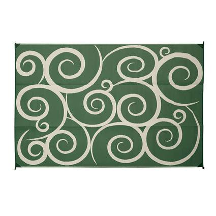 Reversible Patio Mat, Green/Cream, 9 x 12