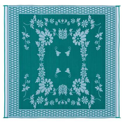 Reversible Floral Mat, Green/White, 9 x 12