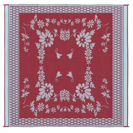 Reversible Floral Mat, Burgundy/White, 9 x 12
