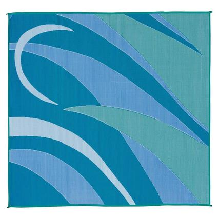 Reversible Graphic Patio Mat, Blue/Green, 8 x 12