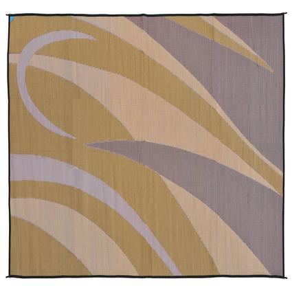 Patio Mat, Polypropylene, Graphic Design, 8 x 12, Brown/Gold