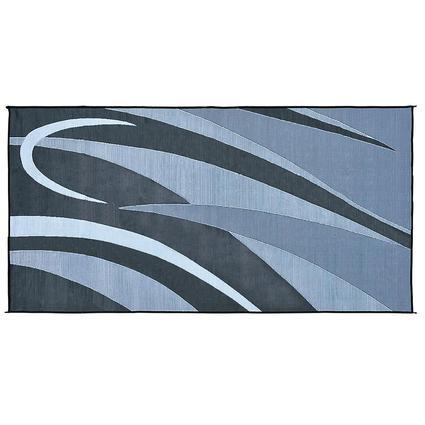 Patio Mat, Polypropylene, Graphic Design, 8 x 20, Black/Silver