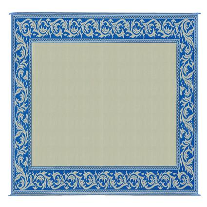Reversible Classical Design Patio Mat, Blue/Beige, 9 x 12